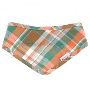 dog bandana made from lightweight orange and green cotton tartan fabric